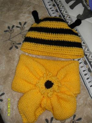 bonnet et echarpe abeille